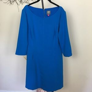 VINCE CAMUTO career midi dress with pockets. Blue